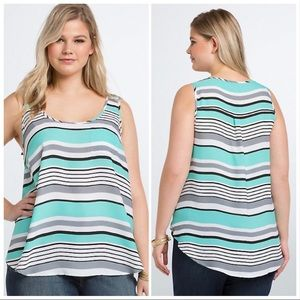 Torrid Turquoise Striped Sheer Pocket Tank Sz 0